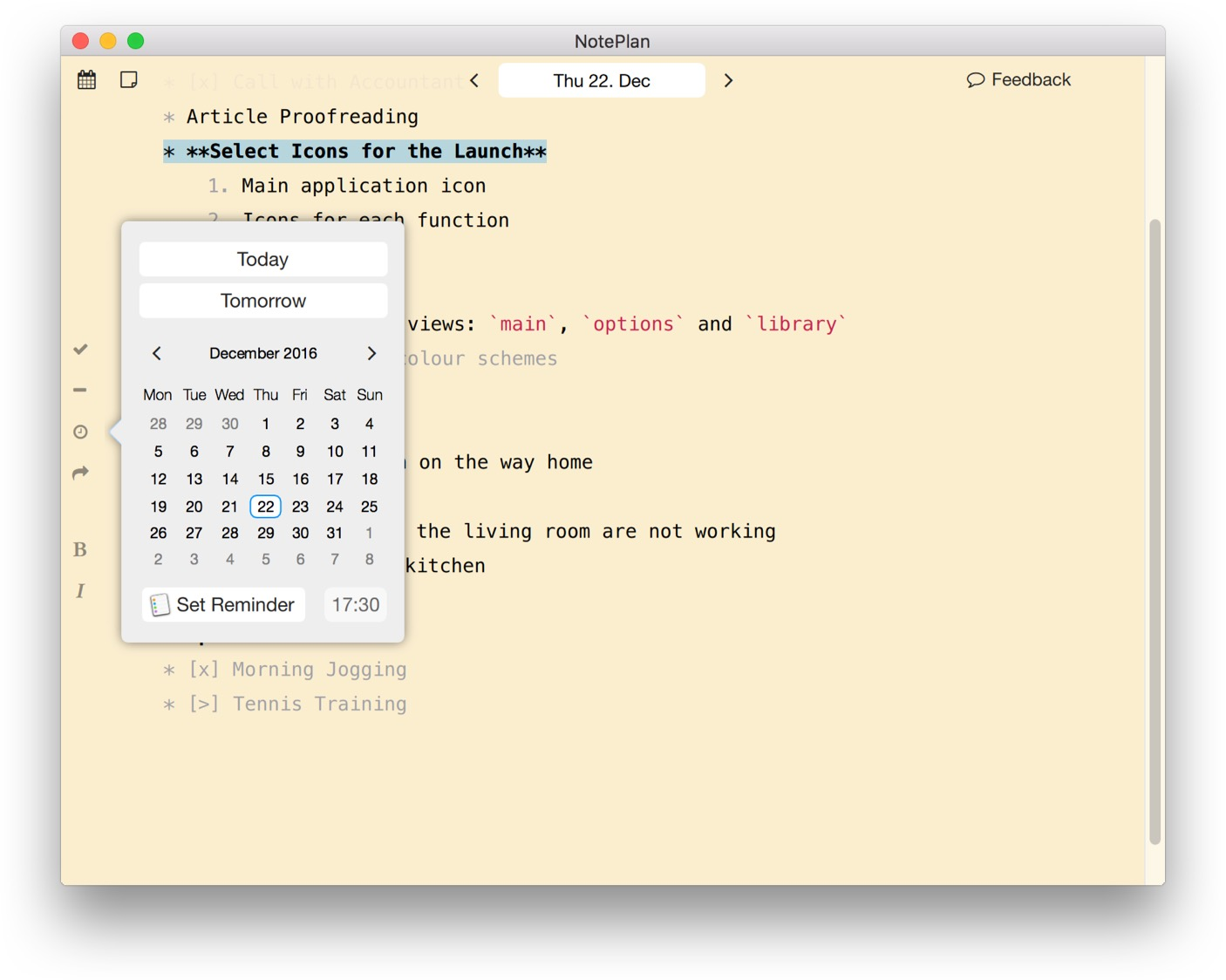 Schedule todos on NotePlan for Mac