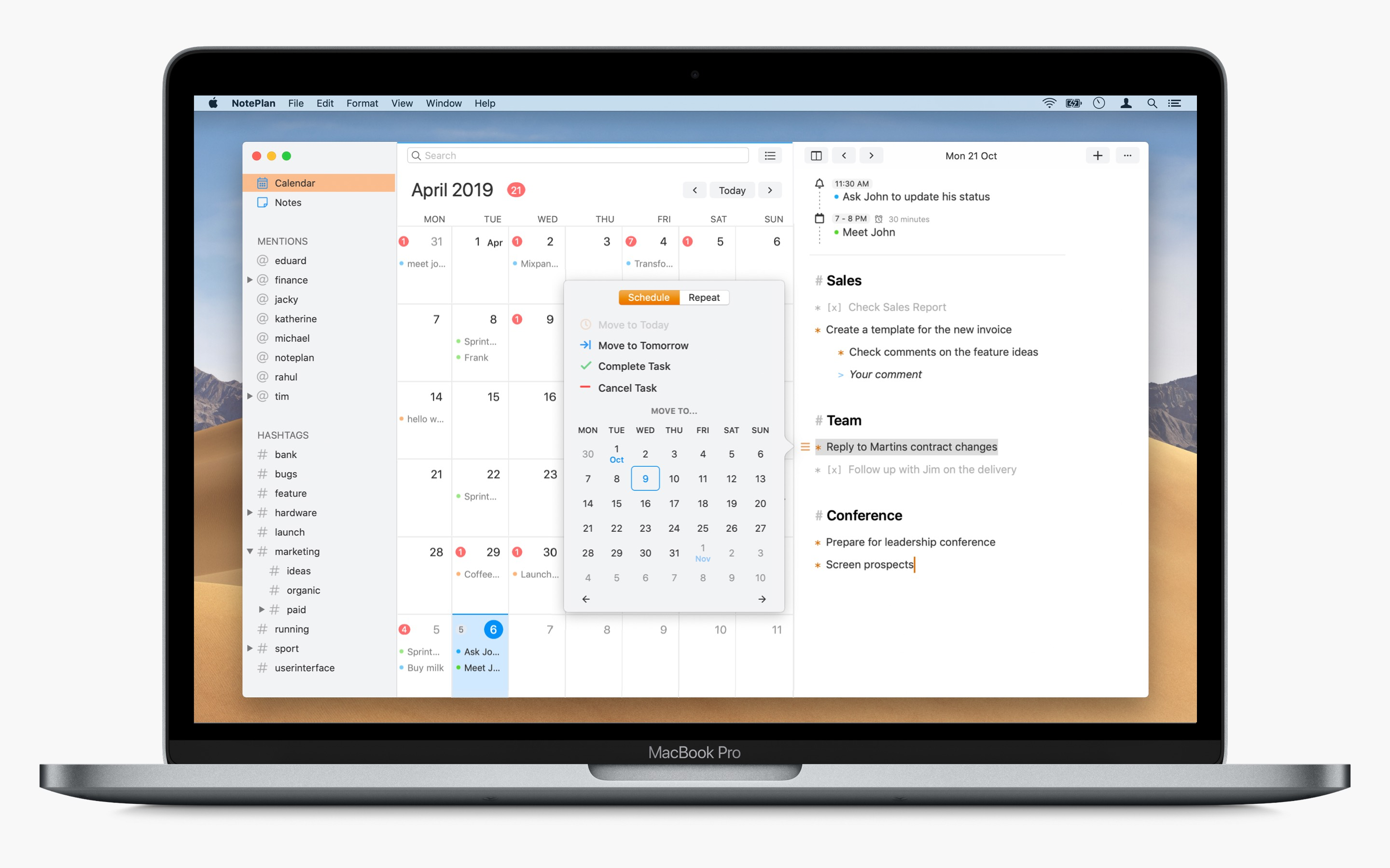 NotePlan Mac window showing a markdown note and iPhone and iPad showing the calendar
