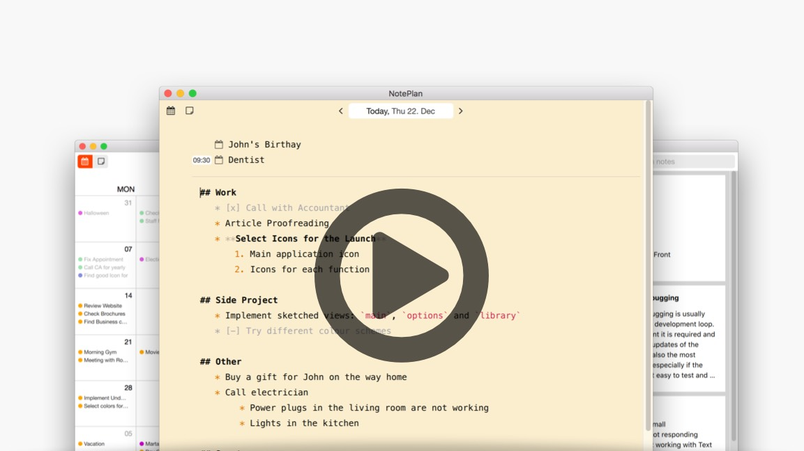 video button for NotePlan for Mac
